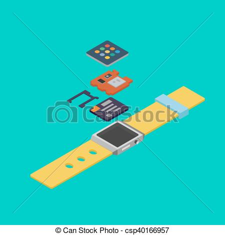 Clipart Vector of Isometric drawing wearable disassembled.