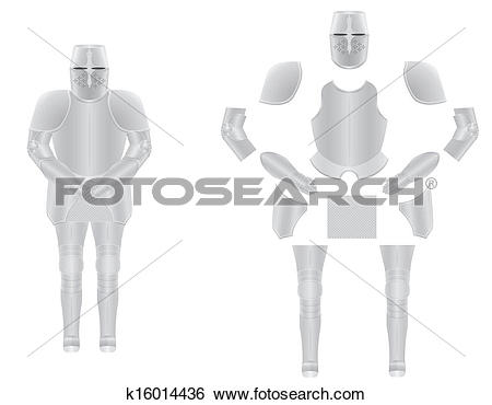 Clip Art of knight armor disassembled vector illustration.