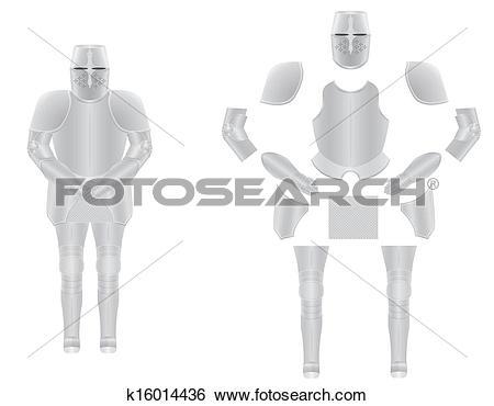 Clip Art of knight armor disassembled vector illustration.