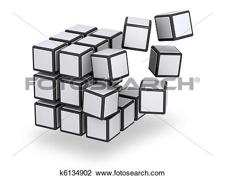 Clip Art of Cube being assembled or disassembled k6134902.