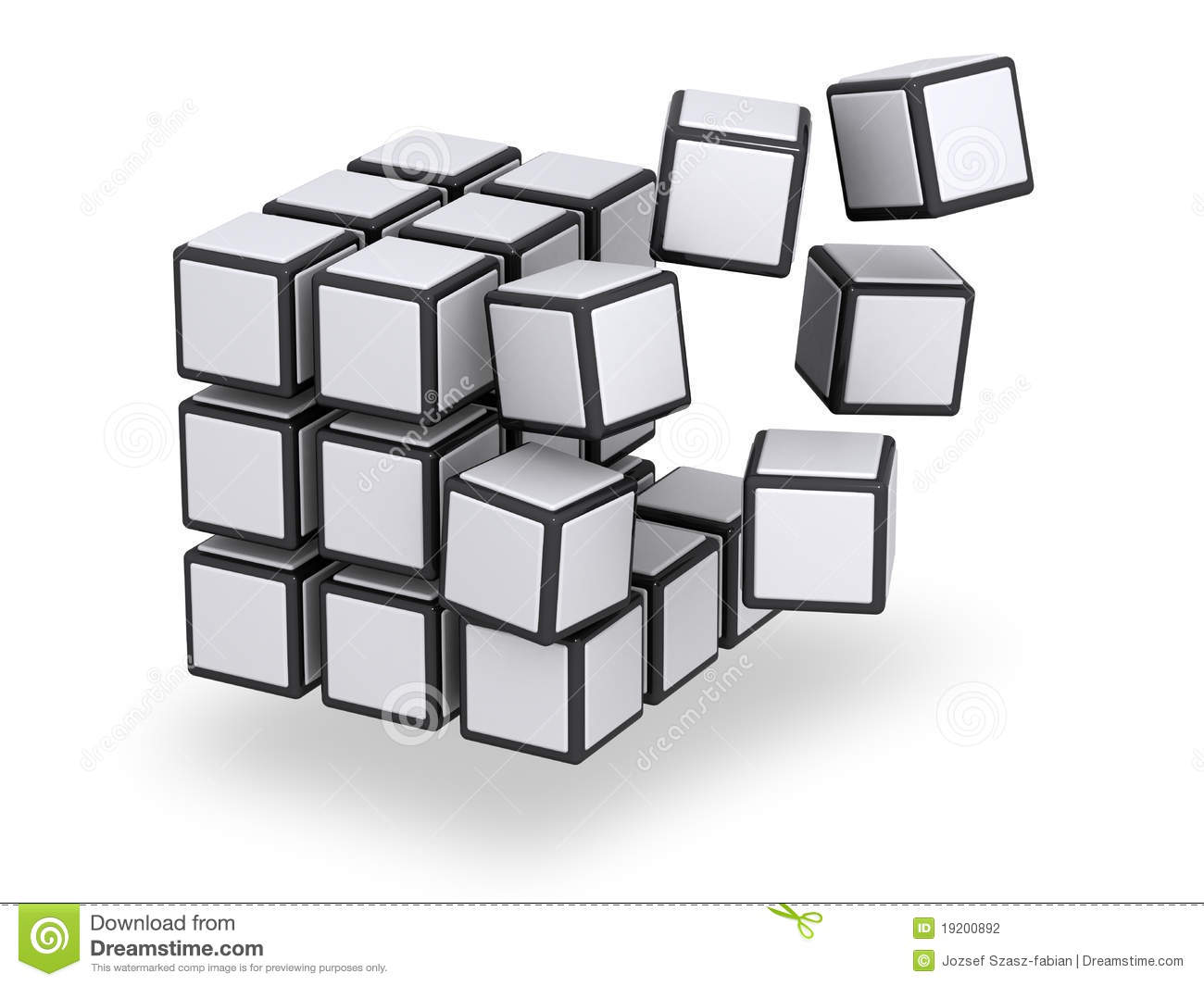 Cube Being Assembled Or Disassembled Editorial Photography.