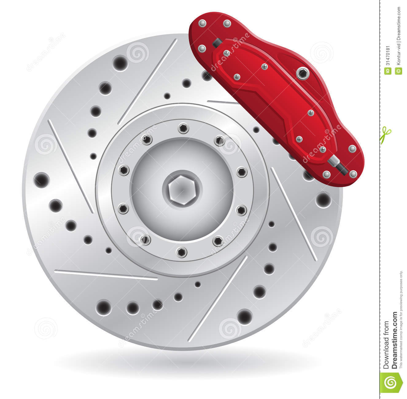 Car Brake Caliper Vector Illustration Stock Image.
