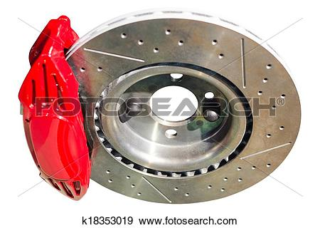 Stock Photograph of Assembled auto disc brakes red caliper with.