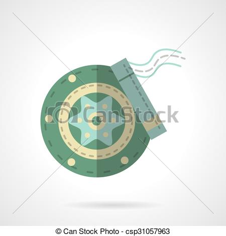 Clip Art Vector of Green disc brakes flat vector icon.