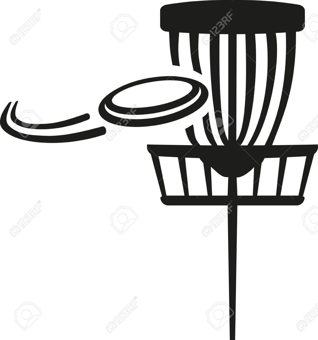 Disc golf basket with flying disk.