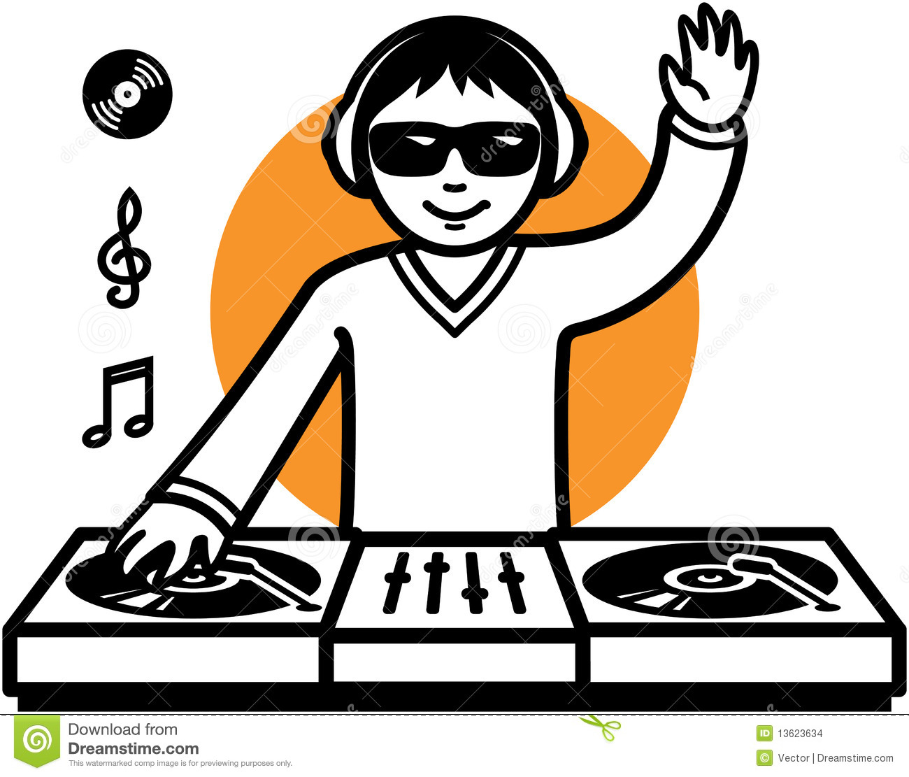 Party DJ At Turntable Illustration Stock Images.