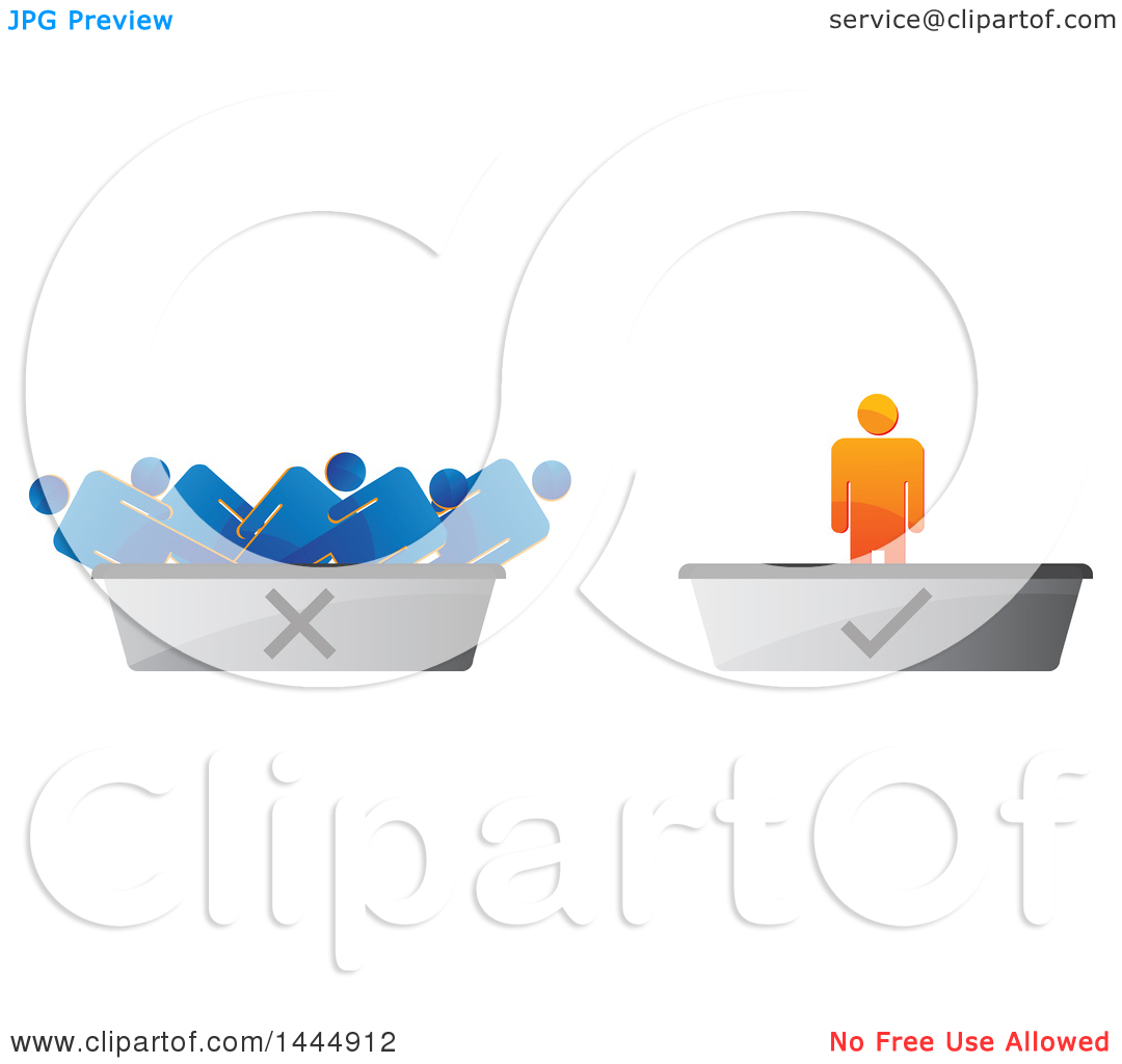 Clipart of a 3d Orange Man on a Check Mark Podium and Blue Men on.