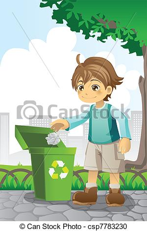 Vector Clipart of Boy recycling paper.