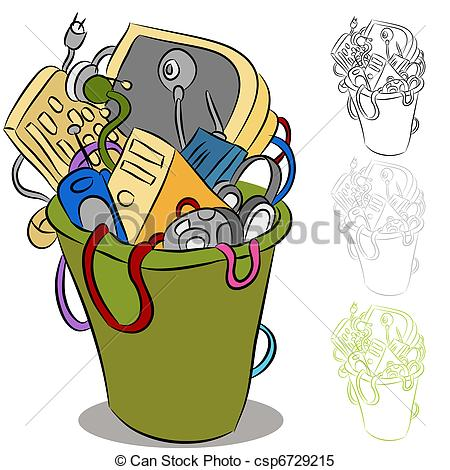 Clipart Vector of Old Discarded Technology.