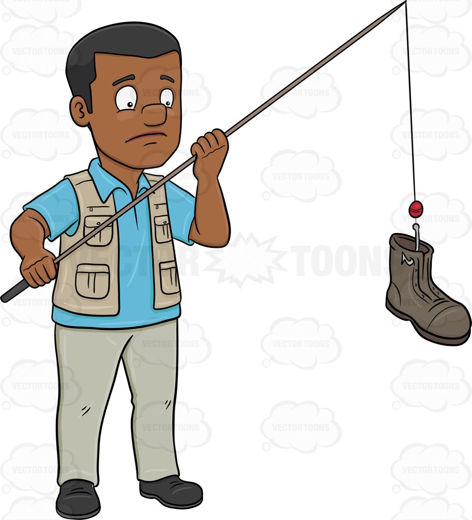 A Black Man Catching A Discarded Boot With A Rod Cartoon Clipart.