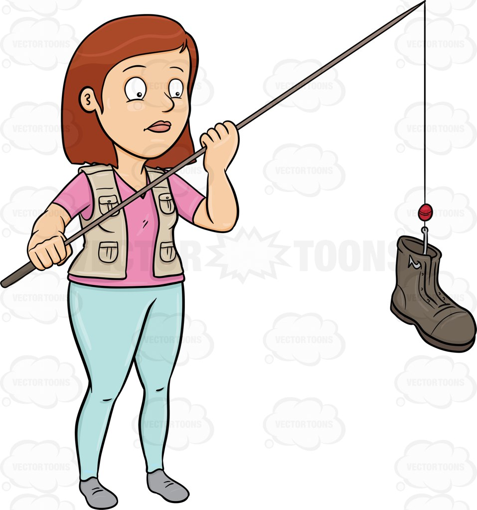 A Woman Catching A Discarded Boot With A Rod Cartoon Clipart.