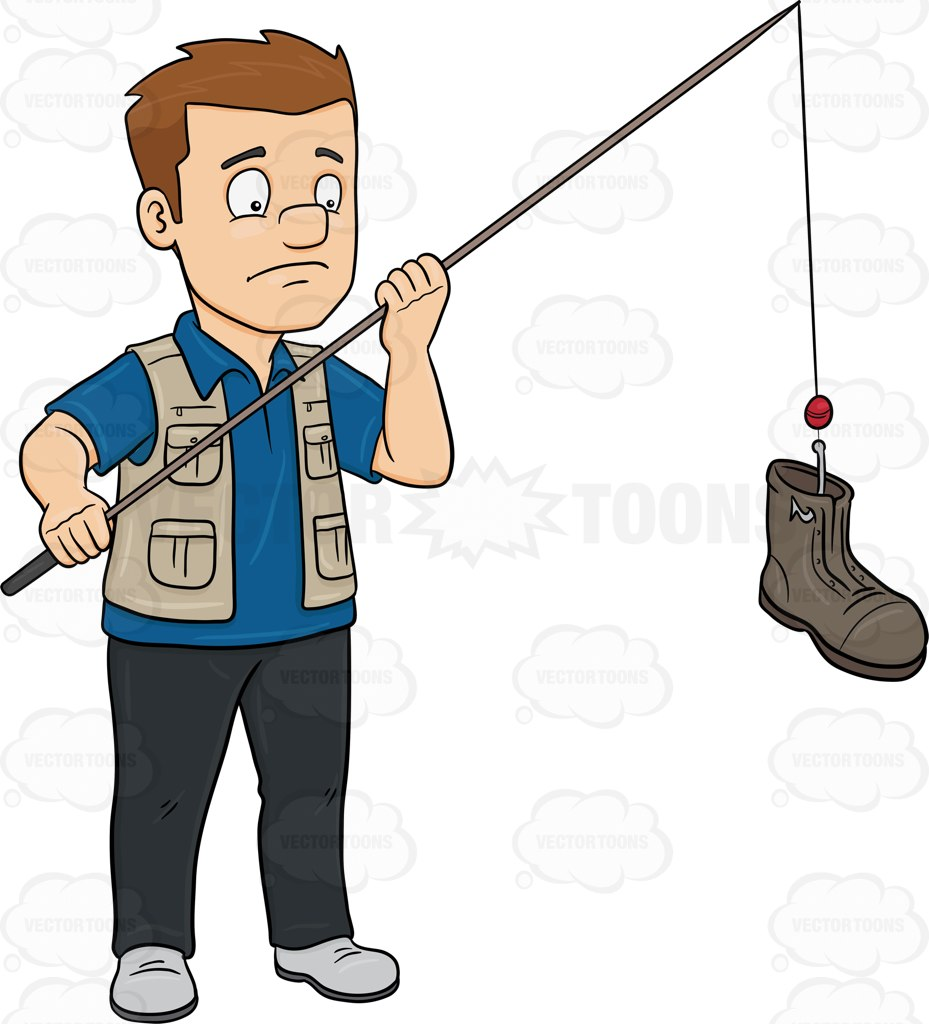 A Man Catching A Discarded Boot With A Rod Cartoon Clipart.