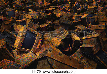 Stock Photograph of Pile of discarded computers 11179.