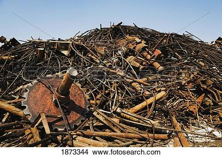 Stock Photo of quebec, canada; pile of discarded, rusted ferous.