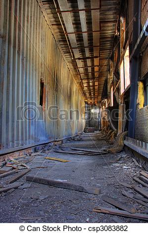 Clip Art of Discarded building, a peer after fire csp3083882.