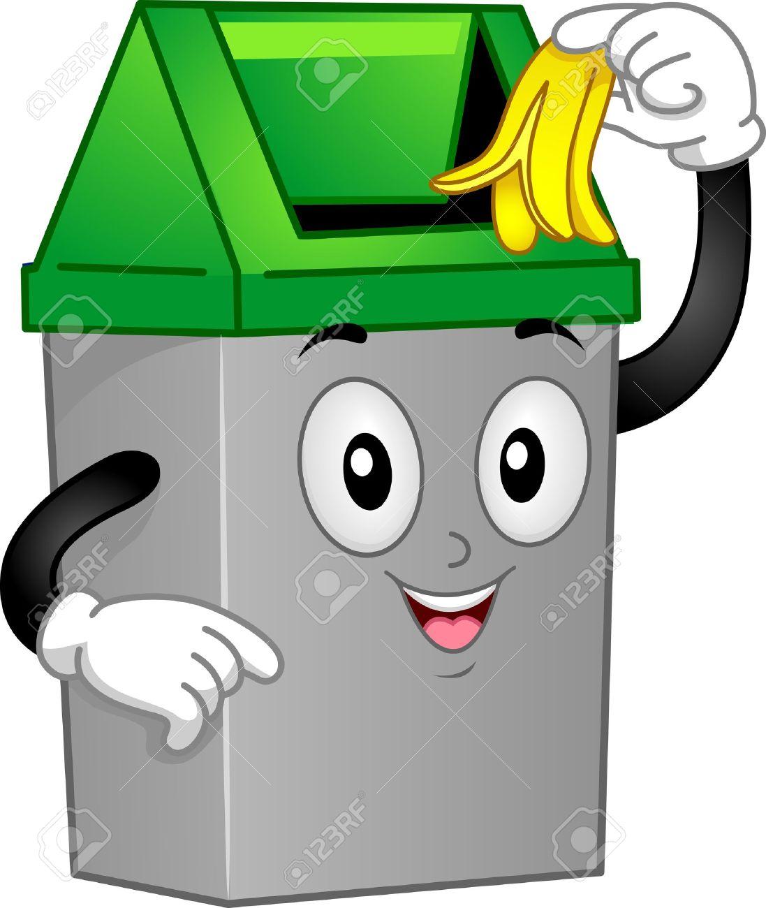 Mascot Illustration Featuring A Trash Can Discarding A Banana.