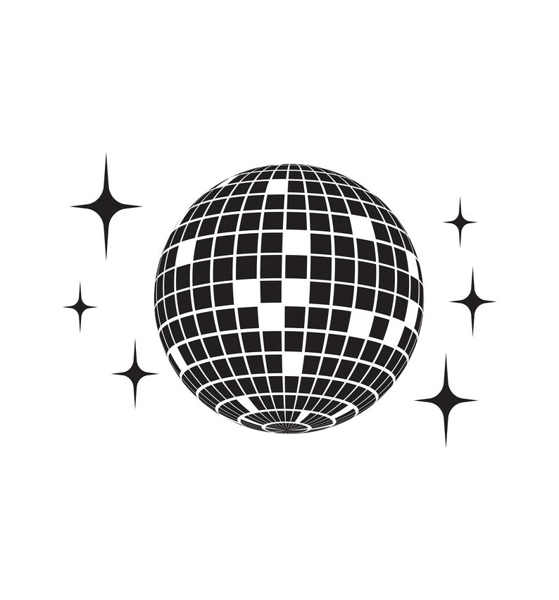 Disco Ball Vector Icon Printable Graphic/ vector eps editable, svg, png,  jpg 300dpi/ INSTANT DOWNLOAD.