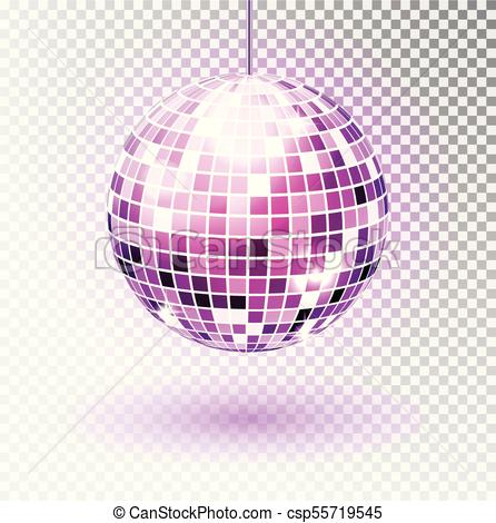 Disco ball. Vector illustration. Isolated. Night Club party light element.  Bright mirror ball design for disco dance club. Vector..