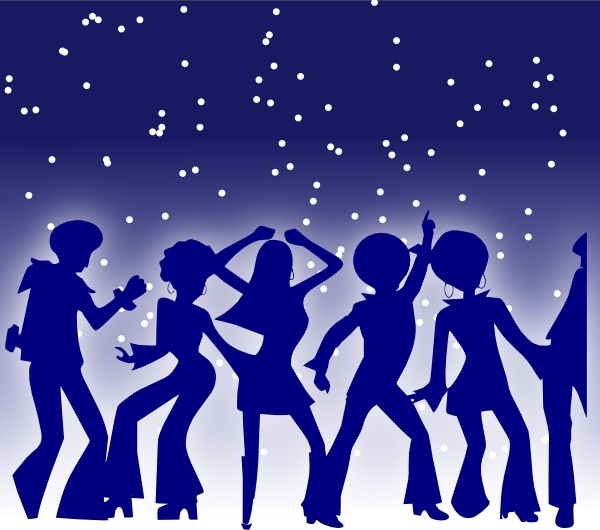 Disco Dancers clip art Free vector in Open office drawing svg.
