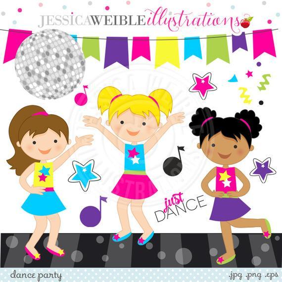 Dance Party Cute Digital Clipart.