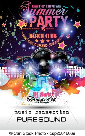 Clip Art Vector of Disco Night Club Flyer layout with Speaker.