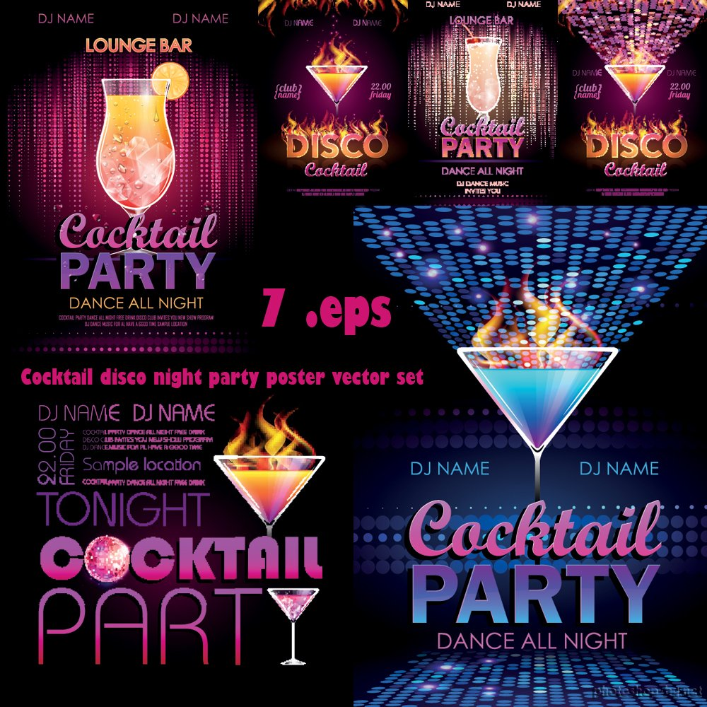 Cocktail disco night party poster vector set » Photoshop Tools.