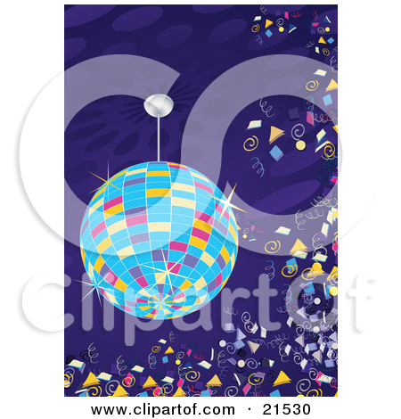 Clipart Illustration of a Colorful Sparkling Disco Ball Circling.