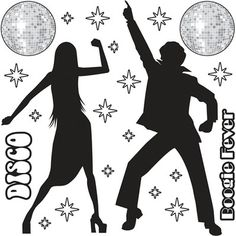 Disco fever clipart to color.