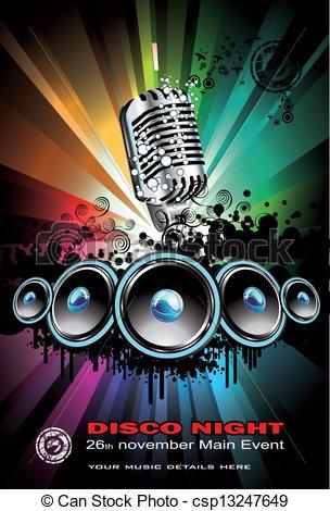 EPS Vector of Disco Dancing Singer Night Background.