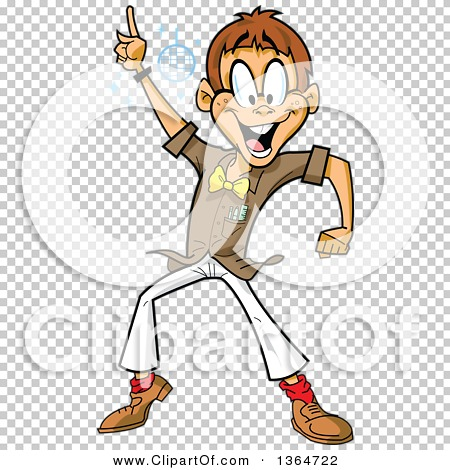Clipart of a Cartoon Happy White Man Disco Dancing at a Night Club.