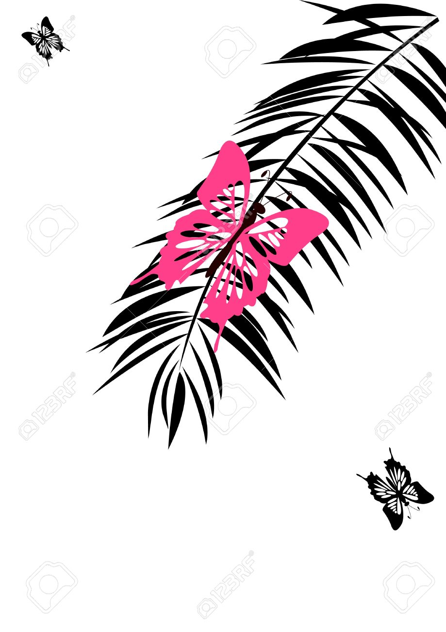 Pink Butterfly Sits On Branch Of The Palm Discolored Royalty Free.