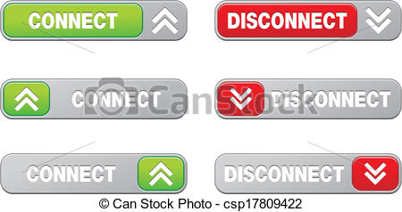 Vector Illustration of connect disconnect button sets.
