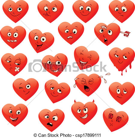 Vector Clip Art of Valentine's set of heart emotions. ( calm.