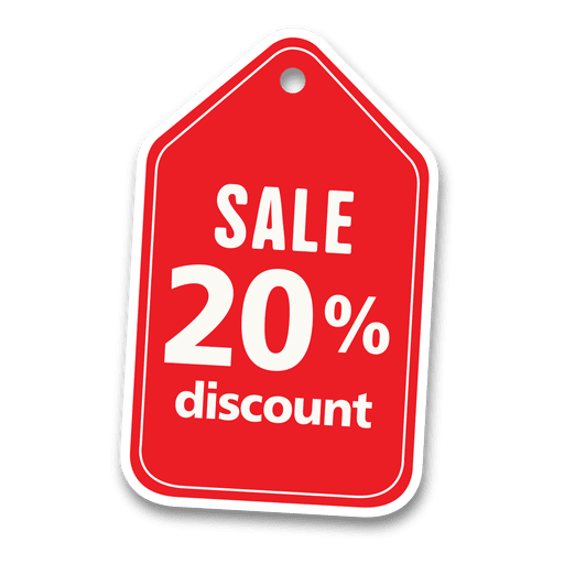 20 percent discount sale tag.