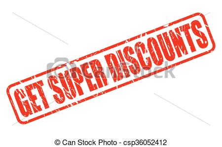 Vector Clip Art of GET SUPER DISCOUNTS red stamp text on white.