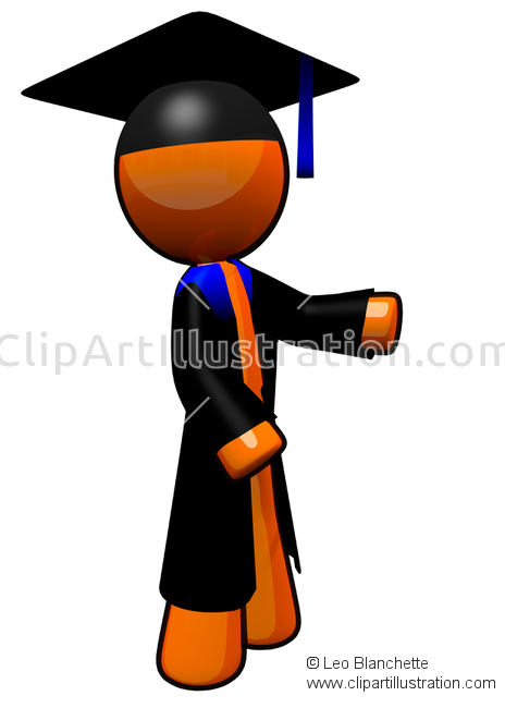 ClipArt Illustration of Orange Man Education Professor Teaching.