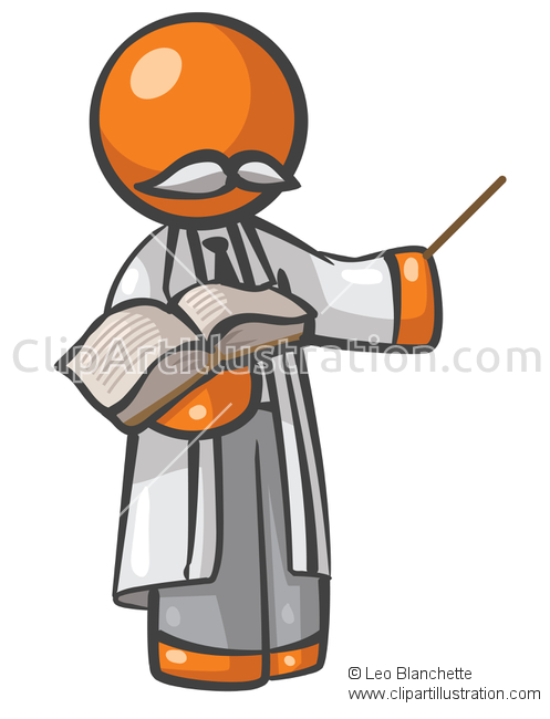 ClipArt Illustration of Orange Man Education Professor Teaching.