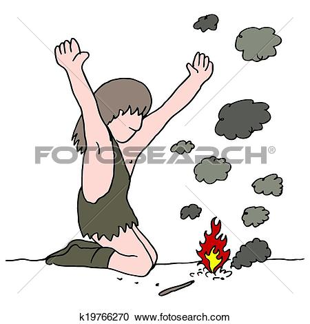 Clipart of Caveman Discovers Fire k19766270.