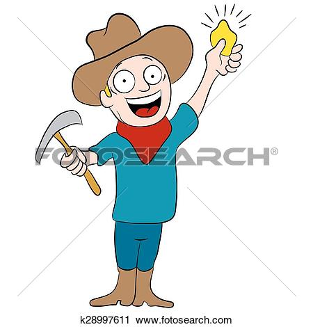 Clipart of Miner Discovers Gold k28997611.