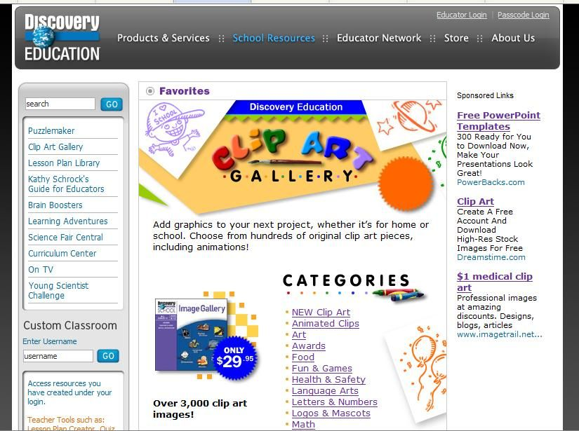 Discovery Education: FREE clipart gallery.