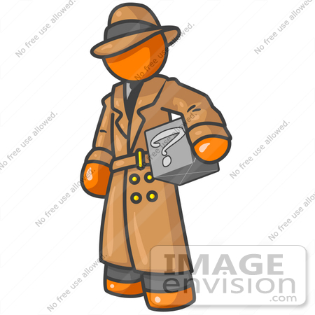 Clip Art Graphic of an Orange Guy Character In A Trench Coat.