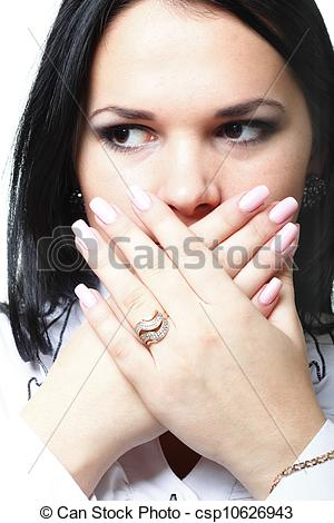 Stock Photo of discreet awkward meaningful silence pretty woman.