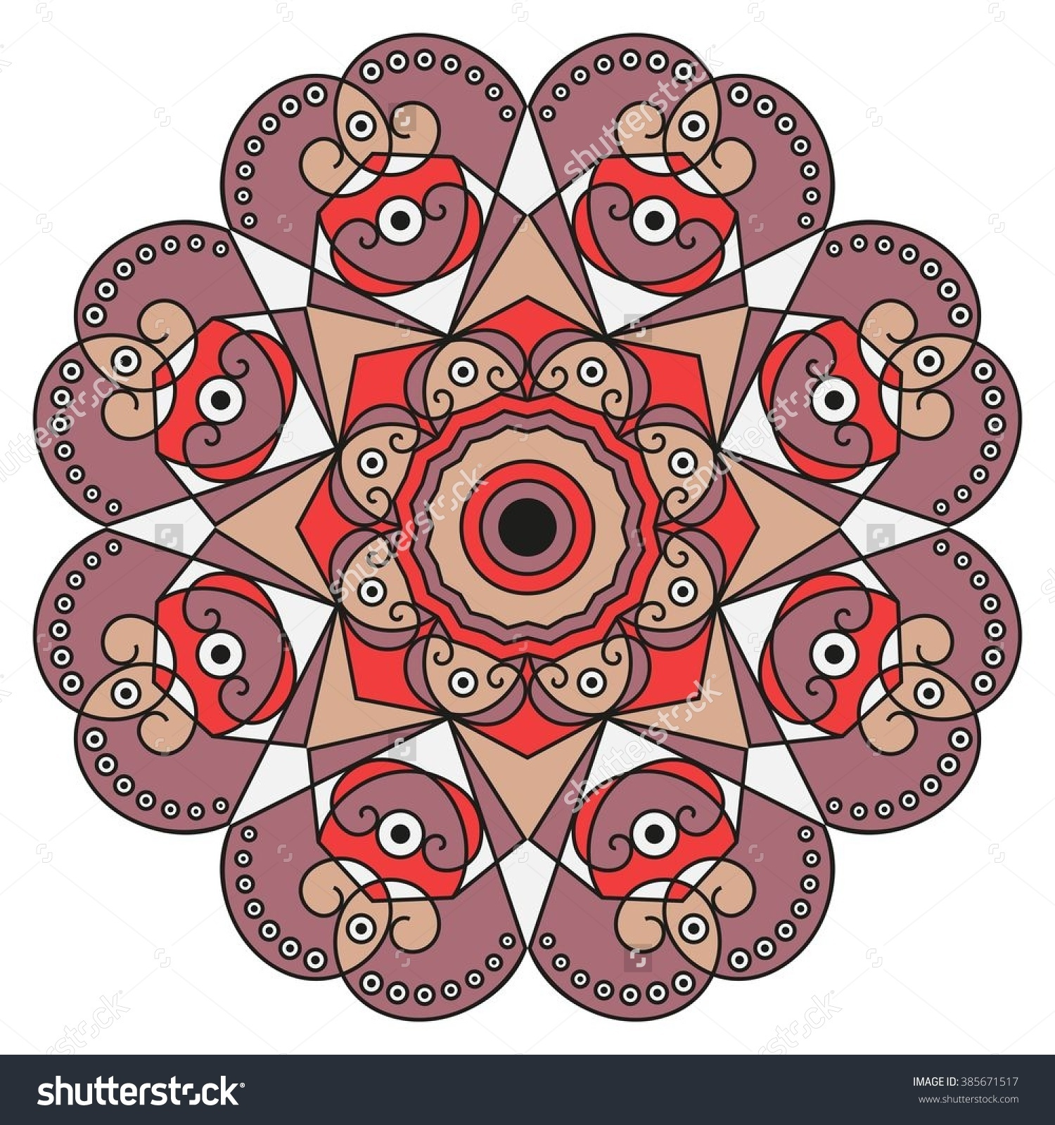 Colorful Round Ethnic Pattern Element Design Stock Vector.