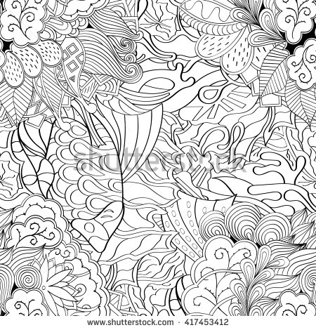 Hand Drawn Artistic Ethnic Ornamental Patterned Stock Vector.