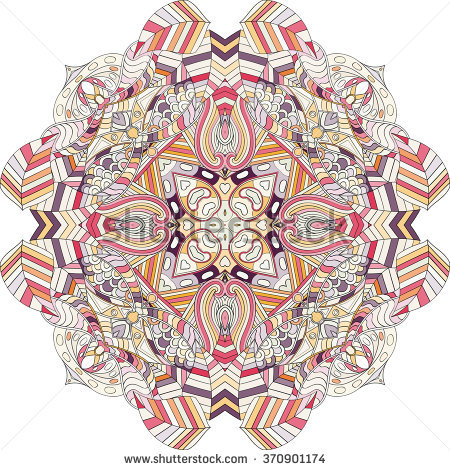 Zentangle Stylized Tiger Triangle Frame Watercolor Stock Vector.