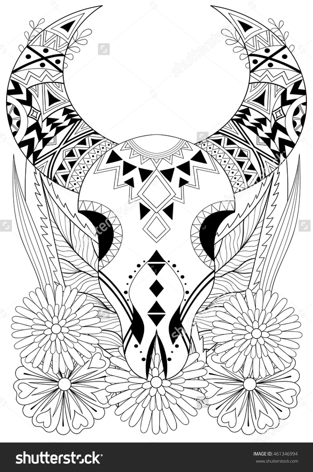 Zentangle Stylized Animal Skull Flowers Hand Stock Vector.