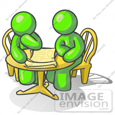 Clip Art Graphic of Lime Green Guy Characters Discussing at a.