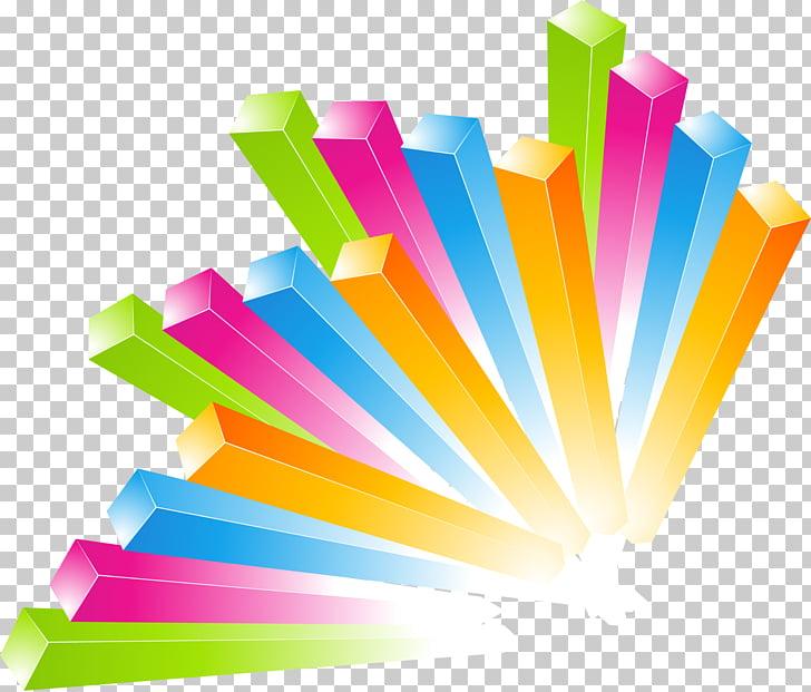 Diseño gráfico cubo, colorida columna de decoración. PNG.