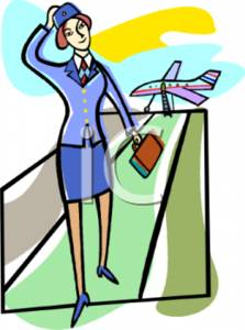 Clipart Image of a Flight Attendant Leaving the Plane.