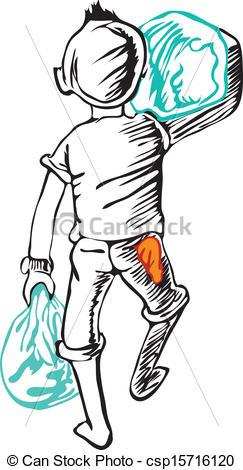 Vector Illustration of Boy carrying of disembark bridge.